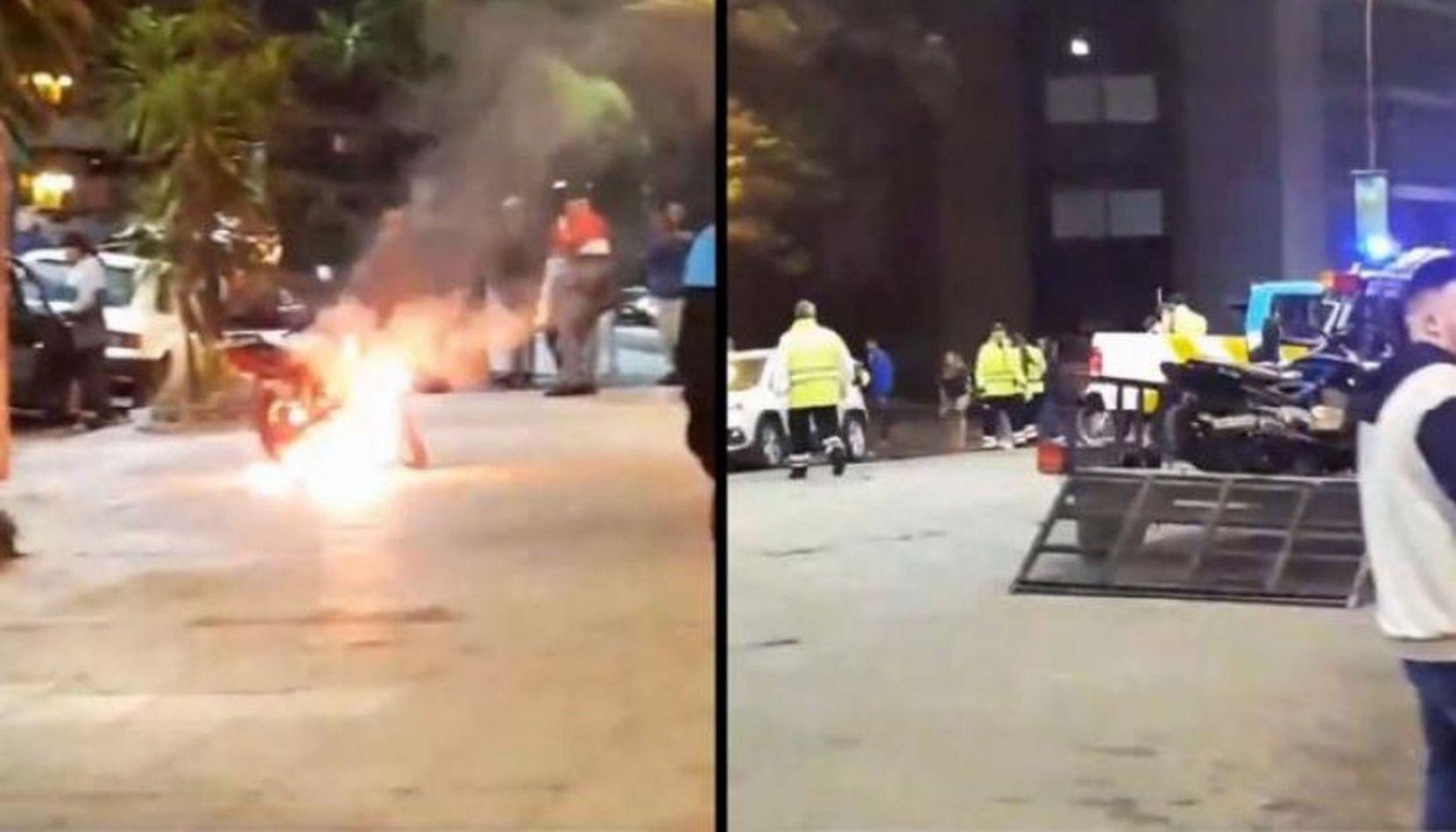 VIDEO Insólito: un joven prendió fuego su moto para evitar que se la secuestren en un operativo