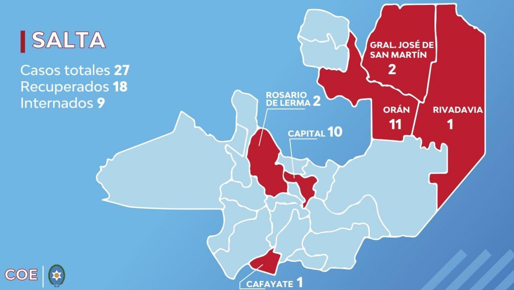 Coronavirus en Salta: estas son las ciudades con más infectados en la provincia