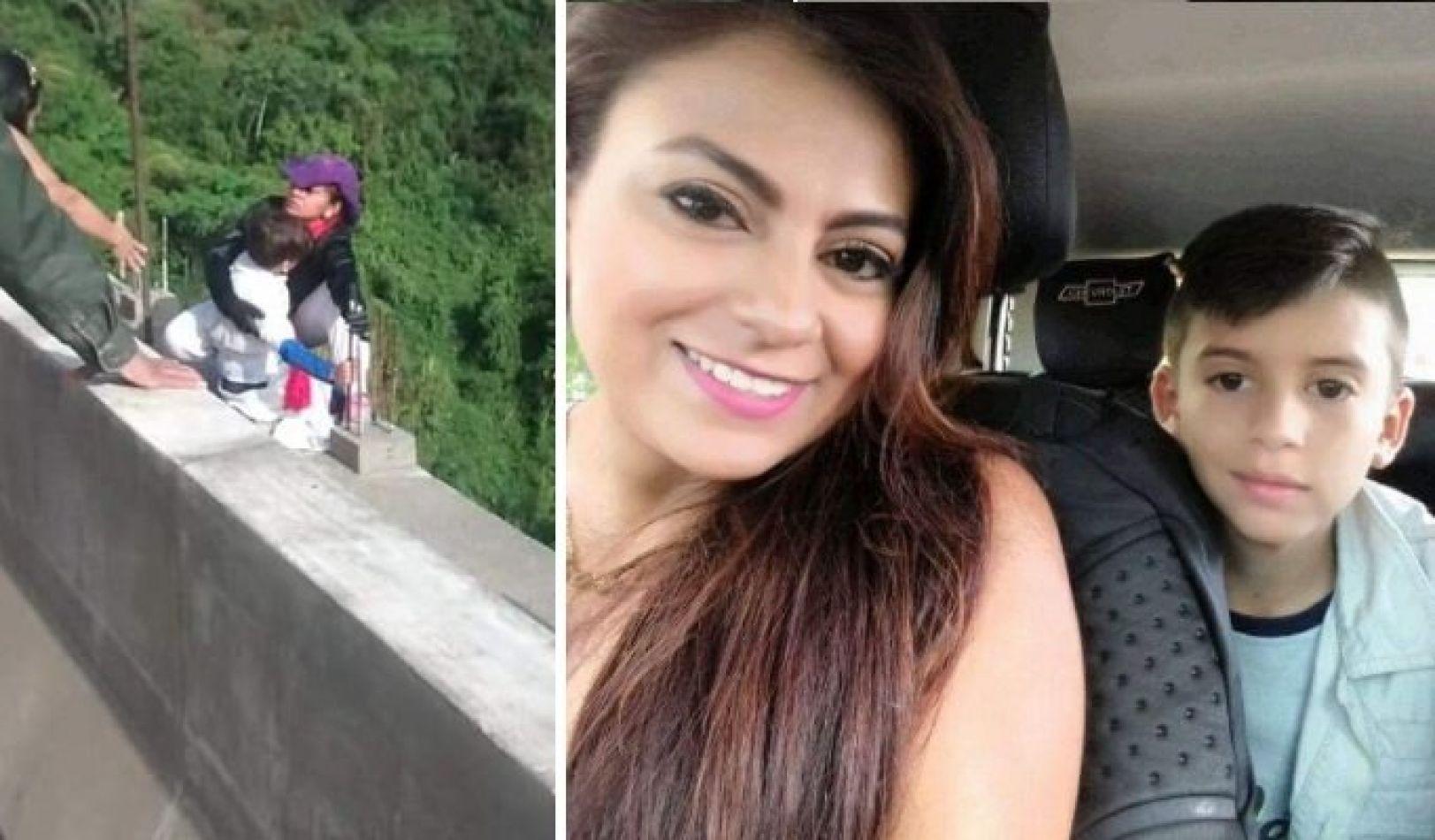 Terrible video: una mujer se suicidó saltando de un puente con su hijo de 10 años